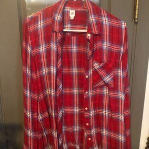 Soft knit button down plaid shirt